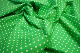 Bawełna - zielone tło, białe kropki 5 mm