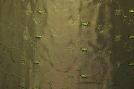 Tafta dwutonowa oliwkowo-czarna z haftem