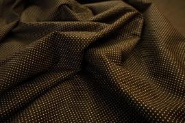 Bawełna - brązowe tło, białe kropki 2 mm