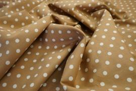 Bawełna - beżowe tło, białe kropki 7 mm