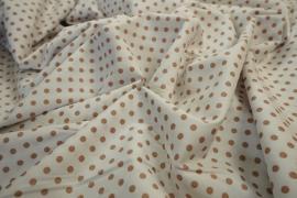Bawełna - białe tło, beżowe kropki 5 mm